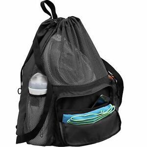 Large Swimming Equipment Mesh Bag, Gym Backpack, Separated Waterproof Dry Pocket