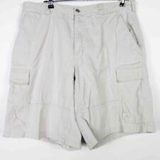 Columbia Sportswear Mens Bermudas Ivory Flat Front Lined Zipper 100% Cotton 36