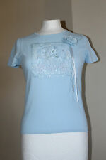Claudia Blue Lace Embroidery Embellished Top Size M