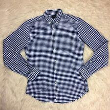Banana Republic Mens Small Blue Dress Shirt Oxford Grant Fit Stretch Plaid Check
