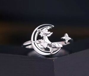 Silver witch ring Wiccan flying witch on broom unusual statement adjustable 🖤