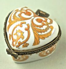 Caja con tapa, de pastillas, Porcelana, hermosa Decoración, hebilla metal. (D17)