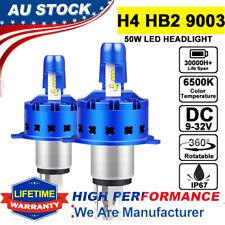 H4 HB2 9003 Hi Lo LED Headlight Conversion Globes Bulb Kit 6500K 12000LM 50W