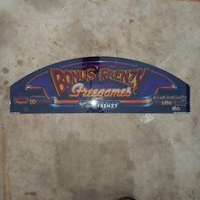 NOS - Bally Bonus Frenzy Freegames Slot Machine Glass - New Old Stock