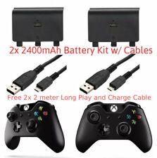 2x Xbox One 2400mAh Rechargeable Battery Kit Pack + 2M 6FT Long Charging Cables