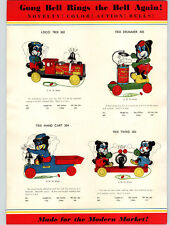 1936 PAPER AD Gong Bell Pull Toys Trix Train Engineer Twins Hand Cart Chime