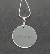Peace Sterling Silver Chain Necklace With Aluminium Charm.