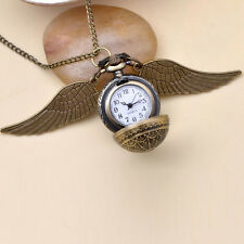 New Harry Potter Pocket Bronze Watch With Wings Necklace Golden Snitch Design