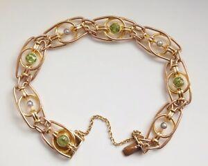 Stunning Antique Victorian 9ct Gold Peridot & Pearl Fancy Link Bracelet c1895