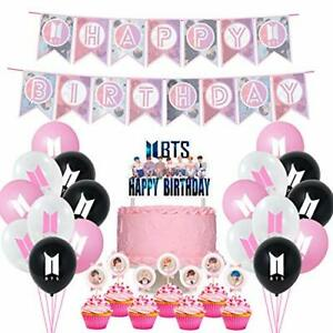 BTS Fans Birthday Party Gift Theme Supplies Cake Cupcake Toppers Balloons Pink