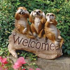 Meerkat Trio Hear Speak See No Evil Welcome Sign Garden Sculpture