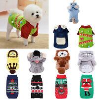 Xmas Pet Dog Cat Sweater Costume Clothes Winter Warm Hoodie Coat Jacket Clothing