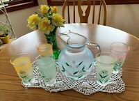 PRICE CUT! Vintage Clear/Frosted Glass Hand-painted Pitcher & Glasses.  Lovely!