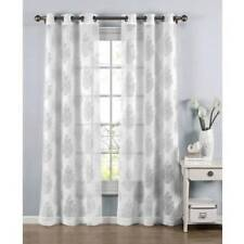 Penelope Cotton Blend Burnout Sheer Grommet Window Curtain Panel Pairs White