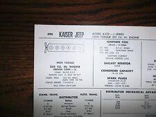 1966 Kaiser Jeep SIX SIX J-Series 6-232 Models Toronado 232 CI L6 Tune Up Chart