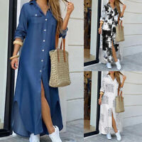 ❤️ Women's Long Sleeve Loose Maxi Shirt Dress Summer Casual Buttons Long Dresses