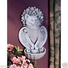 """16"""" CAT FELINE SCULPTURE STATUE MEDITATIVE WALL GARDEN DECOR HOLD WATER"""