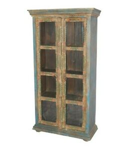 Embossed Antique Vintage Wooden Almirah With Brass Finish (Made To Order)