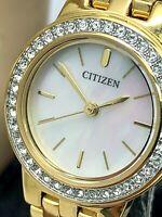 Citizen Womens Watch EJ6102-64D Quartz White Dial Gold Tone 23mm Swarovski Bezel