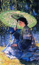 """Handmade Oil Painting repro Guy Rose - The Green Parasol 24""""x36"""""""