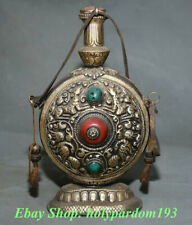 "8"" Collection Old Tibetan Buddhism Silver Turquoise Animal Snuff Bottle"