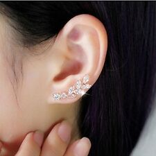 Sweep up CZ Crystal Ear Vine Wrap Pin Ear Cuffs Climbers Hook Earrings