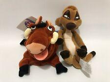 Disney Store Bean Bag Beanie Lion King Timon Pumba Lot Plush Set