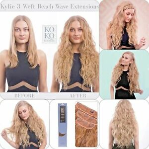 Koko couture deluxe thick 3 piece weft beach wave clip in curly hair extensions