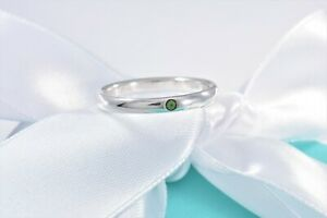 Tiffany & Co Sterling Silver Elsa Peretti Green Emerald Stack Ring Size 4.5