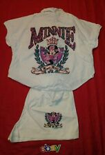 VINTAGE 80s Sherry's Minnie Mouse 2 PC BUTTON UP SHORT SET Disney WOMEN SZ L