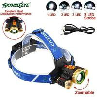60000 LM  T6 3X LED USB phare Zoom 18650 Lampe torche rechargeable HW