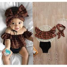 Toddler Infant Baby Girl Floral Bodysuit Jumpsuit Romper+Shorts+Headband Clothes