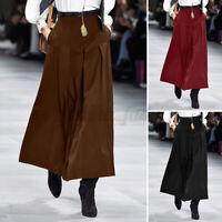 Womens Zip Up High Waist Skirt A-Line Pleated Skirt Casual Loose Long Maxi Dress
