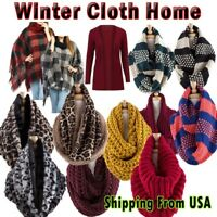 Women Winter Warm Infinity Circle Crochet Knit Cowl Neck Scarf Shawl Wrap