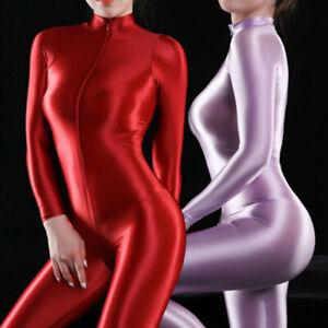 Women's Ultra Shiny Bodysuit 2 Way Zipper Swimsuit Leotard Jumpsuit Clubwear HOT