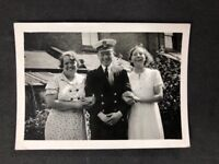 Vintage BW Real Photo #CA: Naval Officer With Family