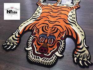 100% Wool  Tibetan Tiger Rug Carpet - 3 Sizes -  100Knot Handmade  Nepal -Orange