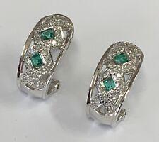 "Estate Jewelry Ladies 0.80 Ctw Emerald & Diamond Earrings 14K White Gold 5/8"""
