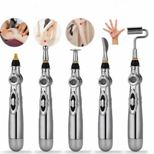 Electronic Acupuncture Pen Meridian Body Massager Pain Relief Therapy 3/5 Heads