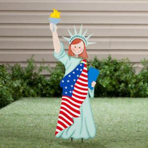 Statue of Liberty Girl Draped In American Flag Metal Bobble-Head Garden Stake