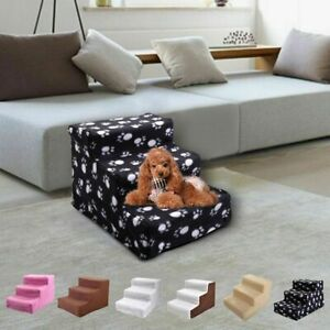 Pet Stairs, 3 Non-slip Steps Dog Cat Puppy Ladder for High Bed w/ Washable Cover