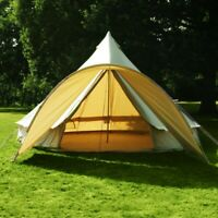 5Meter Cotton Canvas Bell Tent Waterproof Front Awning Flying Yurt Tent Glamping