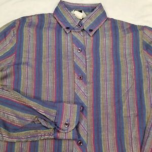 WEST MEETS EAST Retro Vtg Striped Shiny Polyester Button Shirt Women's Small