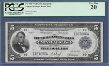 1918  $5 FRBN  FR-799  ♚♚ MINNEAPOLIS ♚♚ PCGS VF 20   HARD TO FIND!!!