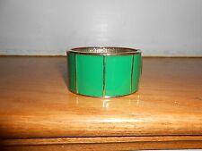 BANANA REPUBLIC Goldtone Green Enamel Section Hinged Cuff Bangle Bracelet