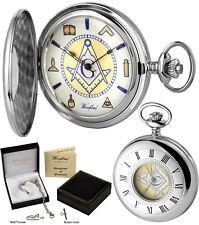 Woodford Masonic Half Hunter Pocket Watch 17 Jewel Polished Chrome Free Eng 1111