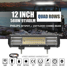 8D+ 12INCH 588W PHILIPS Led Light Bar Spot Flood Combo Lamp Quad Row +Wiring Kit