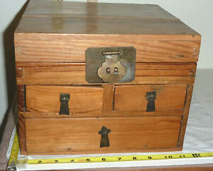 Antique Hand Made Wood Apothecary Medicine/Jewelry BOX Chest - Brass Hardware