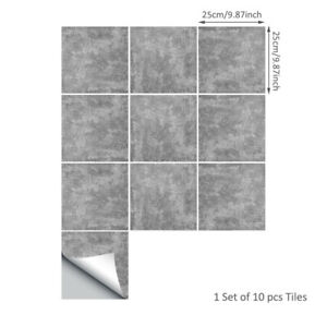 10pcs Grey Industry Concrete Feel Adhesive Bath Kitchen Wall Floor Tile Sticker