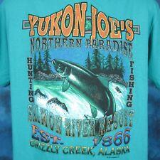 vtg 80s GRIZZLY CREEK ALASKA SALMON RIVER PAPER THIN T-Shirt L/XL fish hunting